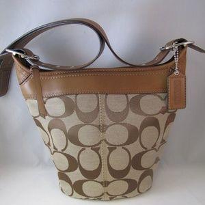 Coach Sig Tan/Brown Convertible Bucket Bag F13358